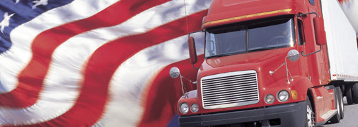 Fleet Truck With American Flag