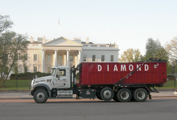 Dumpster at White House in Washington, DC